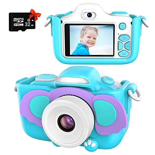 Kriogor Kamera für Kinder, Digital Fotokamera Selfie und Videokamera mit 12 Megapixel/ Dual Lens/ 2 Inch Bildschirm/ 1080P HD/ 32G TF Karte, Geburtstagsgeschenk für Jungen Mädchen (Blau)