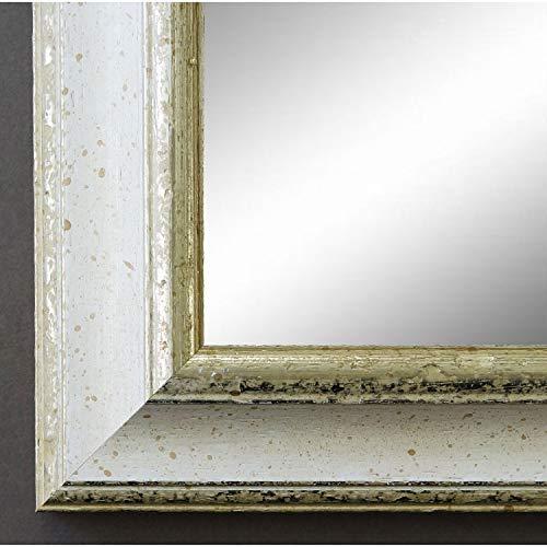 Online Galerie Bingold Spiegel Wandspiegel Badspiegel - Genua Weiß Silber 4,3 - handgefertigt - 200 Größen zur Auswahl - Antik, Barock - 80 x 120 cm AM