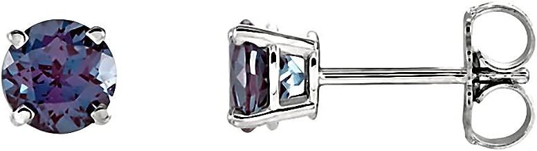 Prong Set 2.5mm 0.12 cttw Genuine Natural Alexandrite June Birthstone Stud Earrings