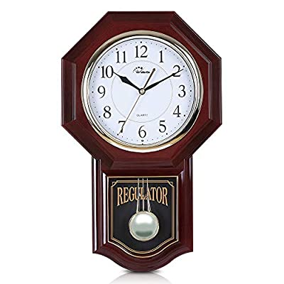 """WallarGe Pendulum Wall Clock,Grandfather Wall Clock,19"""" x 11.5"""",Battery Operated Schoolhouse Clocks,Music Chime Every Hour,12 Melodies,Decorative Wall Clock for Livingroom,Study or Office."""