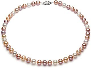 Multicolor Freshwater Cultured Pearl Necklace for Women AAAA Quality Sterling Silver (6-6.5mm) - PremiumPearl