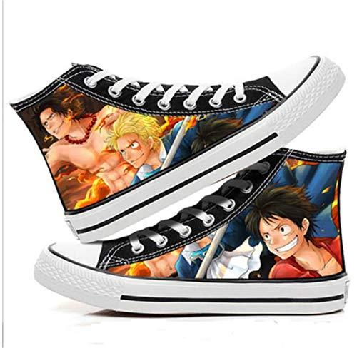JPTYJ One Piece Monkey·D·Luffy/Portgas·D· Ace Zapatos Unisex Zapatos de Lona Ocio Unisex Anime Zapatos Transpirables C-35