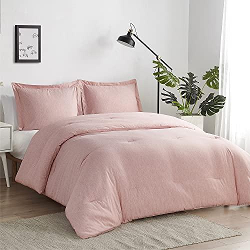 Bedsure Queen Comforter Set, Bed Comforter Queen Set, Pink Comforter Queen Set, Cationic Dyeing Queen Comforter with Pillow Shams(Queen/Full, 88x88 inches, 3 Pieces)