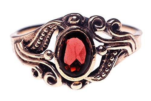 Windalf Mujer bronce talla ovalada rojo Crystal