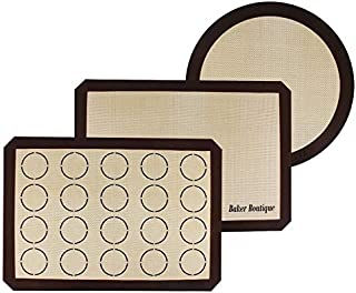 Lot de 3 tapis de cuisson en silicone anti-adhésif pour moules à pâtisserie et à rouler, réutilisables, résistants à la ch...