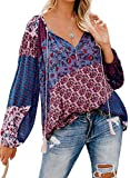 Eytino Women Long Sleeve V Neck Printed Shirts Casual Loose Drawstring Blouse Tops,Large Purple
