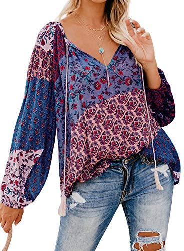 Actloe Women Floral Printed V Neck Drawstring Shirts Long Sleeve Casual Peasant Tops Multicolor Maternity Blouses Floral-8 X-Large