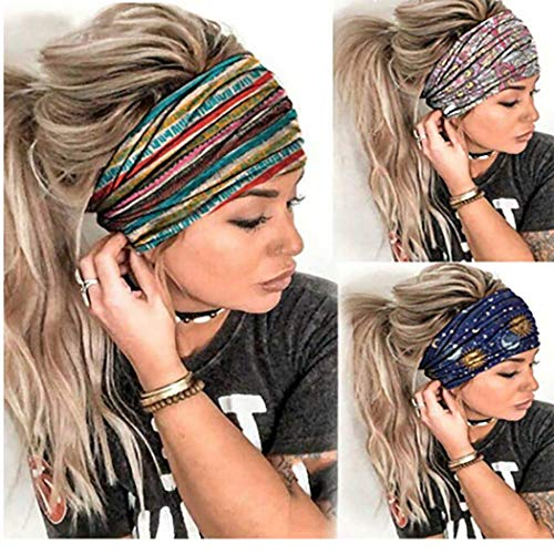 Gortin Boho Headbands Blue Yoga Stretch Stripe Hair Bands Butterfly Print Wide Head Turban Fashion Head Wraps for Women and Girls Pack of 3