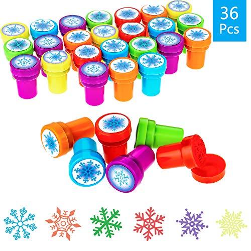 WILLBOND 36 Stücke Winter Schneeflocke Stempel Kunststoff Farbige Stempel Verschiedene Schneeflocke Stampfer für Karte Herstellung Weihnachten Party Gefallen, 6 Stilen