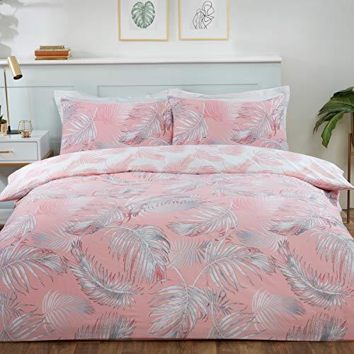 Sleepdown Juego de Funda de edredón con Fundas de Almohada (230 x 220 cm), diseño de Hojas Tropicales de Palmera, Color Rosa y Blanco