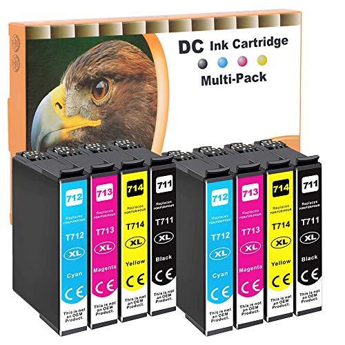 D&C 8x Cartuchos de tinta compatibles con Epson T0711 T0712 T0713 T0714 para Epson Office B40W BX-300F BX-310FN BX-510 W BX-600FW BX-610FW Stylus D120 D78 D92 DX-4000 DX-4050 DX-4400 DX-5000 DX-5050