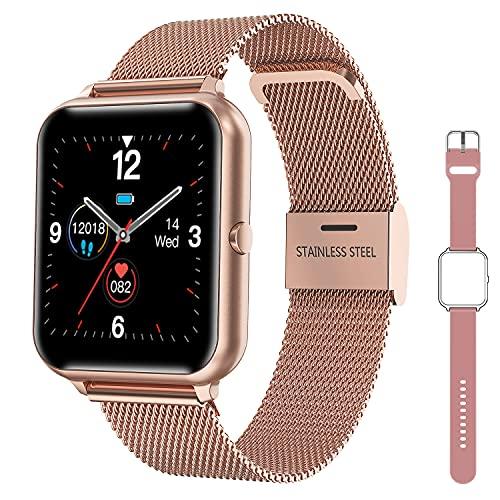 Reloj Inteligente Mujer Smartwatch Hombre con Pulsómetro, Podómetro, Monitor de Sueñ, Calorías, Pulsera Actividad Impermeable Deportivo Relojs Inteligentes para Android iOS Smartphone (Oro)