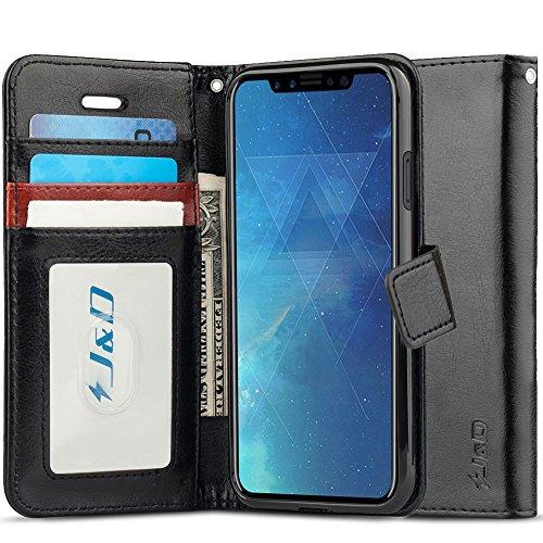 J&D Compatibile per Cover iPhone X, [RFID Blocco Portafoglio] [Sottile Adatta] Protettiva Robusta Antiurta Flip Custodia per iPhone X - Nero
