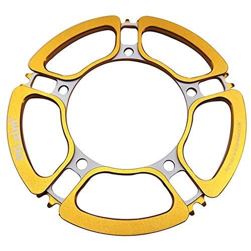Hellery Bicicleta de Montaña Bicicleta Plegable Chainring Guard 130 BCD aleación de Aluminio Estrecho Anillo de Cadena Ancha Cubierta Protectora para 56T - de Oro