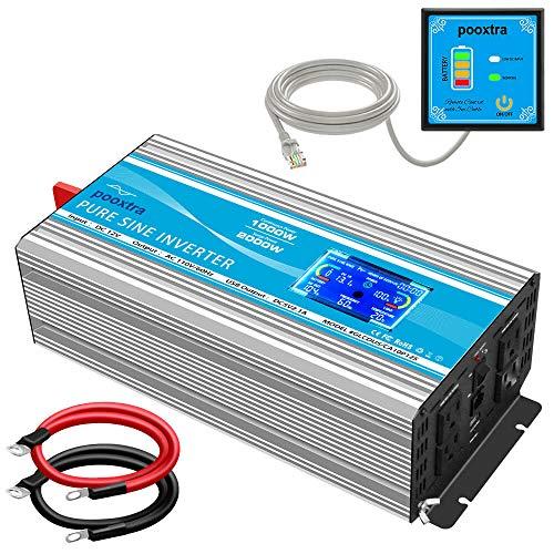 POOXTRA 1000 watt Pure Sine Wave Inverter DC 12V to AC 110V Converter with LCD Display & USB Port +4AC Outlets Car Inverter,2 Cooling Fans Supply for Home RV Car Emergency