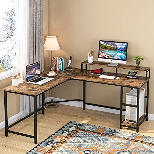 Tribesigns Scrivania per Computer Scrivania da Gioco Scrivania a Forma di L Scrivania ad Angolo Scrivania da Studio PC Notebook Laptop Tavolo da scrivania Industriale da Ufficio