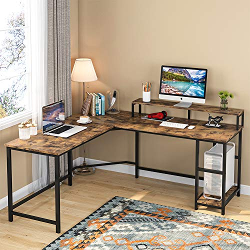 Tribesigns Computer Desk Gaming Desk L-Shaped Writing Workstation Corner Study Desk PC Notebook Laptop Industrial Computer Desk Table with Large Monitor Stand and Shelves for Home Office