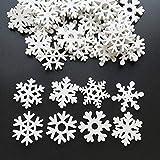 LEZED Holz Schneeflocken Anhänger für Weihnachten 100 STK Holz Schneeflocke Fensterdeko Mini Streuteile Schneeflocken Ausgehöhlten Schneeflocken Verzierungen für Winterliche Weihnachts Tischdeko 35mm