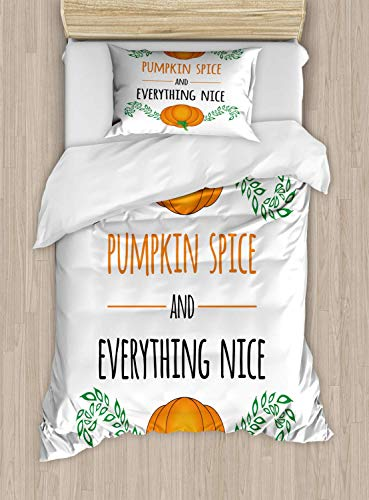 Pumpkin Spice Single Bedding Duvet Cover 2 Piece, Animation with Words and Leaves Ornament, Soft Bedding Protects Set with 1 Comforter Cover 1 Pillowcase, Single Size, Fern Green Marigold