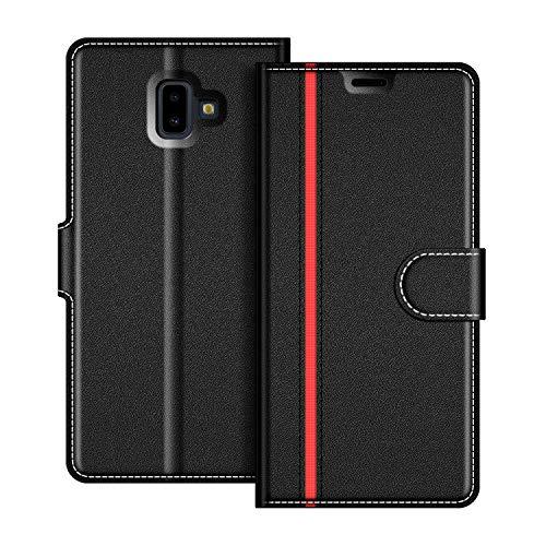 COODIO Handyhülle für Samsung Galaxy J6 Plus Handy Hülle, Samsung Galaxy J6 Plus Hülle Leder Handytasche für Samsung Galaxy J6 Plus 2018 Klapphülle Tasche, Schwarz/Rot