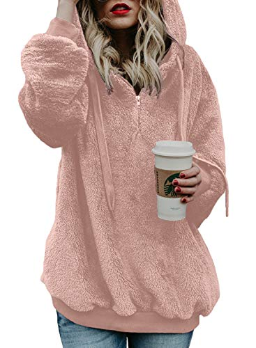 Actloe Women Casual Loose Fuzzy Hoodie Pullover Sweatshirt Cozy Outwear with Pockets Pink X-Large