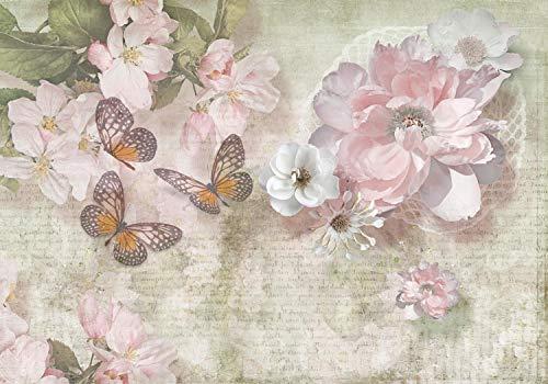 wandmotiv24 Fototapete Blumen Schmetterlinge Retro , XL 350 x 245 cm - 7 Teile, Fototapeten, Wandbild, Motivtapeten, Vlies-Tapeten, Diamanten, Schrift, Zeichnung M1303