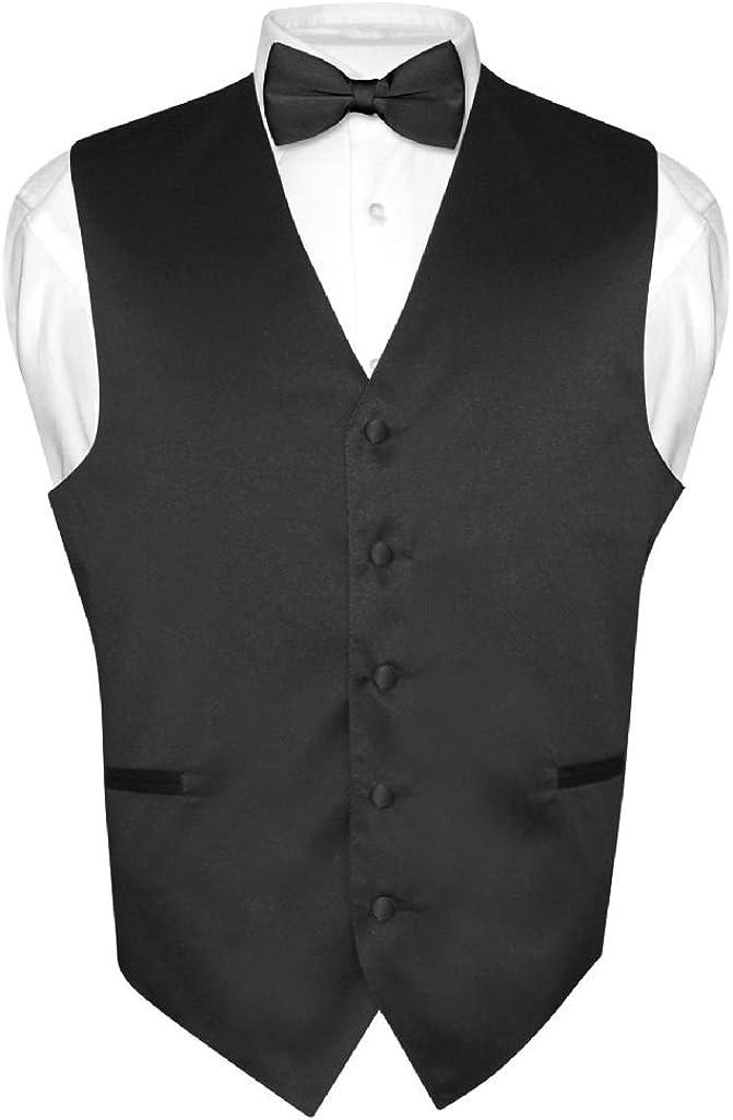 Men's Dress Vest BowTie Solid BLACK Tie Set Suit Max 43% OFF Bow Color In a popularity for
