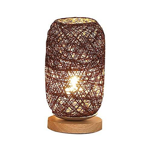 LKNJLL Schlafzimmer Tischlampe, Nacht Personality Dekoration kreative dimmbare LED-Nachtlicht Holz Twine Rattan-Kugel-Nachtlicht (Color : A)