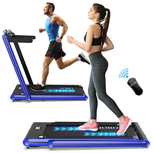 JOBO 2 in 1 Folding Treadmill, 2.3HP Under Desk Electric Treadmill, Installation-Free with Bluetooth Speaker, Remote Control and LED Display, Walking Jogging for Home Office Use (Blue)