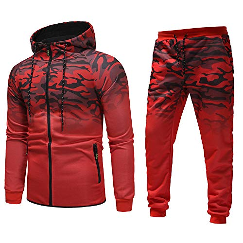 Aiserkly Herren Jogging Anzug Trainingsanzug Sportanzug Herbst Winter Camouflage Pullover Sweatshirt Hoodie Tops Hosen Sets Sportanzug Trainingsanzug Rot 3XL