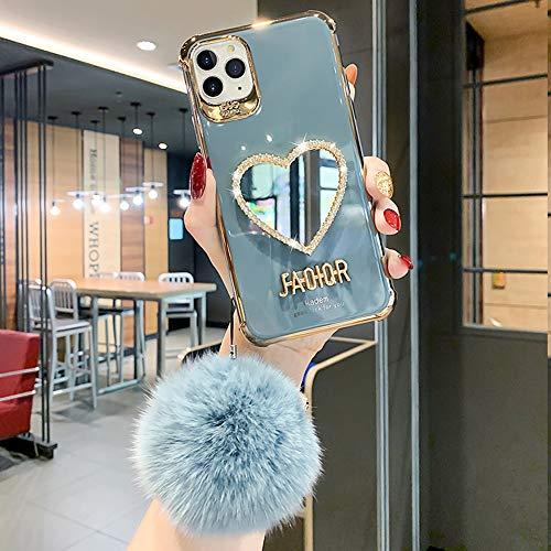 Carcasa de Telefono del Espejo, Funda para iPhone, Funda de Silicona para teléfono,diseño de cámara Elegante con la Bola de la Felpa (Gris, para iPhone 11 Pro MAX)