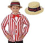 Disfraz infantil de 1920, diseño de rayas, color rojo y blanco y sombrero de barbería y paja, para niños, para el Día Mundial del Libro/Semana de los años 20 (mediano)