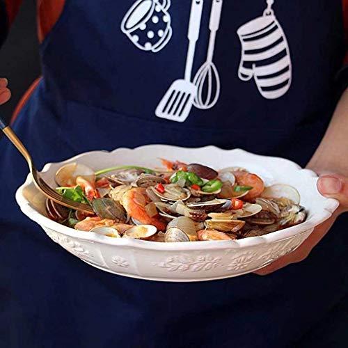 WYZXR Placa de cerámica de 25 cm con estampado vintage en relieve para restaurante cocina, frutas y hogar ensalada plato