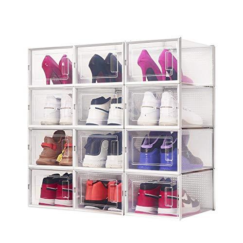 Meerveil Lot de 12 Boîte à Chaussures,35x25x18,7cm,Boîte de Rangement Transparent et Pliable pour Chaussures, Boîte de Rangement Amovible à tiroir, Etagère à Chaussures