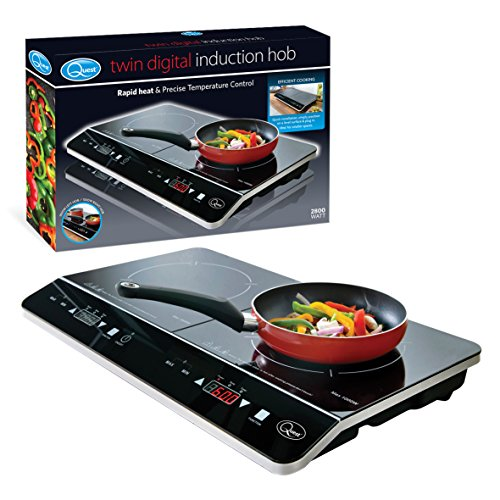 Quest 35840 Digital Induction Hob Hot Plate with 10 Temperature Settings and Touch Control, Double, 2800 W, Black