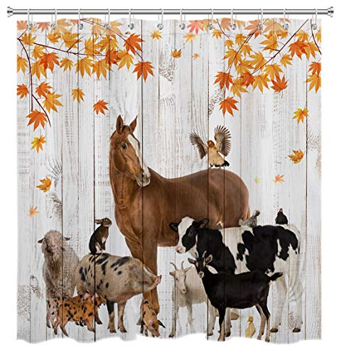 HVEST Fall Shower Curtain Farmhouse Animals Rustic Plank Shower Curtain Retro Vintage Bath Curtain Fallen Maple Leaves Shower Curtains for Bathroom Decor, 72W x 72H Inches Shower Curtain Sets