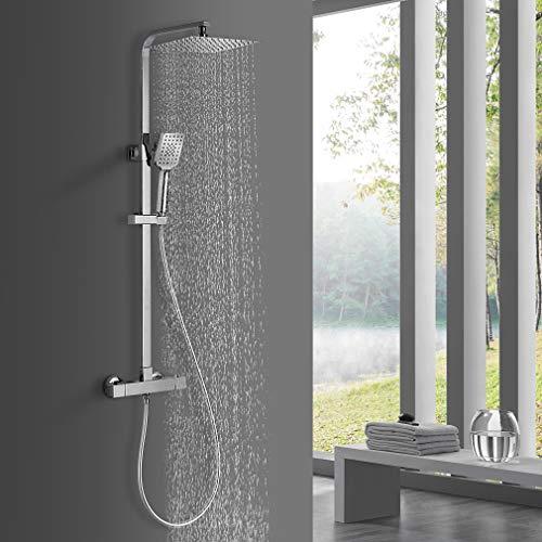 BONADE Duschsystem mit Thermostat Duscharmaturen Regendusche mit Wandhalterung Duschset Thermostat mit 10 zoll Duschkopf, Handbrause mit 3 Strahlarten, Verstellbare Duschstange für Badzimmer