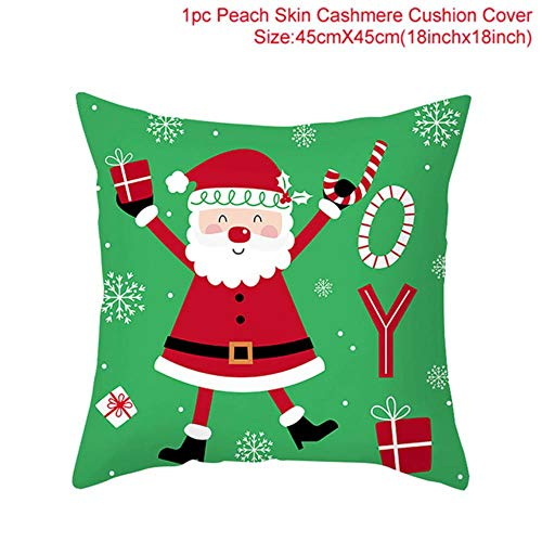 ZHANGDA Christmas Cushion Cover Christmas Decorations For Home Sofa Xmas Gifts Santa Claus Polyester Throw Pillowcase 45 * 45,12