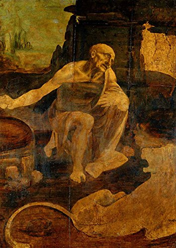 "Leonardo da Vinci - Saint Jerome - Pinacoteca Vaticana 30"" x 21"" Wall Art Giclee Canvas Print (Unframed)"