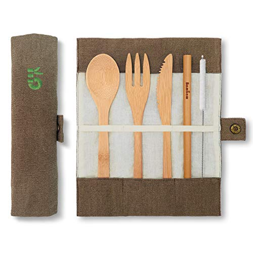 Bamboo Cutlery Set | Travel Cutlery Set | Eco Friendly Flatware Set | Knife, Fork, Spoon and Straw| Wooden Cutlery Set | Camping Cutlery Set with Travel Pouch | 7.9 Inch | Olive | Bambaw