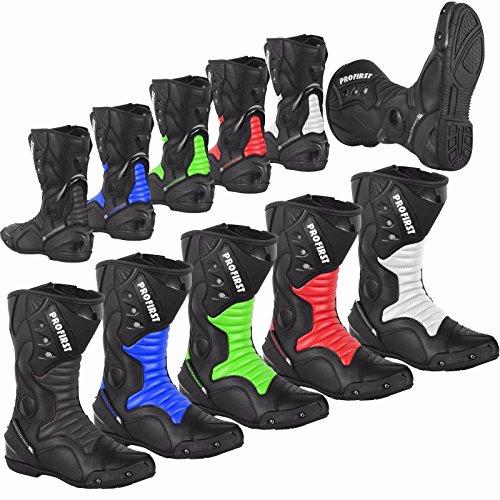 ProFirst Split Leder Wasserdicht Motorrad Motorrad Gepanzerte Stiefel Stiefel Schuhe Anti-Rutsch Rennsport | Schwarz / Black, EU 43