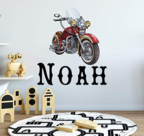 Jongens Naam Muursticker Motorfiets Stickers Fiets Muurstickers Sport Decor Jongens Kwekerij Decal Kids Kamer Decor Speelkamer muur Kunst S316