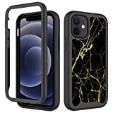 iPhone 12 Mini Case,Black Gold Marble for Men Boy Luxury Design Shockproof Rugged Dual Layer Cover Soft TPU and Hard PC Bumper Full-Body Protective Marble Case for iPhone 12 Mini Case 5.4inch