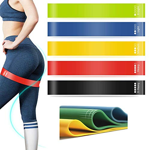 ONMIER Resistance Bands for Women Butt and Legs, Exercise Loops Bands for Women/Men Workout Home Fitness, Stretching, Strength Training, Physical Therapy, Workout Bands, Pilates Flexbands, Set of 5