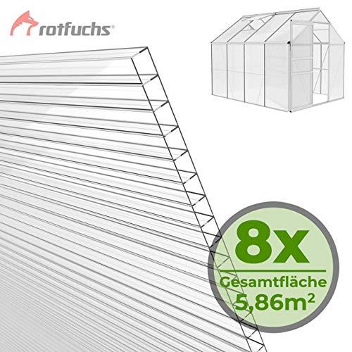 51b6ovsq+4L - Rotfuchs® Hohlkammerplatten 8 Stück Set Stegplatten Doppelstegplatten Gewächshaus Zubehör Doppelseitig UV-Beschichtet hochwertig ohne Recycling Anteile