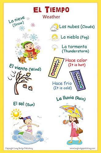 Spanish Language School Poster - Words About The Weather - Wall Chart for Home and Classroom - Bilingual: Spanish and English Text
