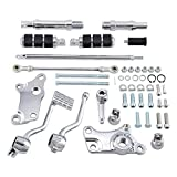 Set Chrome Forward Controls Foot Pegs Levers Linkage Mounting Kit Compatible with 1991-2003 Harley Sportster XL883 XL1200