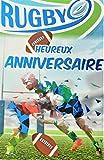 Carte Heureux Anniversaire Bleu Brillant Ballon Ovale Rugby Men Homme Champion Mêlée Poteaux Equipes Stade Terrain Sud-Ouest Fabriqué en France, 65-1270