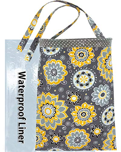 NeatCarBags Handmade Car Trash Container - Trash bin for car, Car Garbage Holder Bag, Small Car Trash Can Hanging with Reusable Waterproof Liner and Disposable Bags - Car Waste Basket (Large Grey)