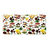 Extended Gaming Mouse Pad with Stitched Edges Waterproof Large Keyboard Mat Non-Slip Rubber Base with Types of Mushrooms Wild Species Organic Natural Food Garden Desk Pad for Gamer Office 16x35 Inch